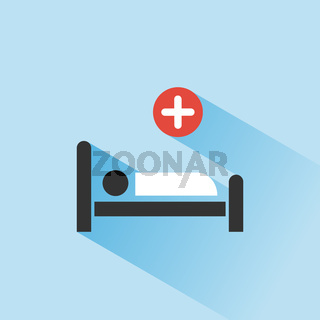 Hospital bed. Medicine color icon with shadow on a blue background