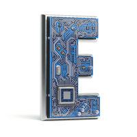 Letter E, Alphabet in circuit board style. Digital hi-tech letter isolated on white.