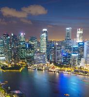 Aerial skyline of Singapore Downtown