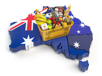 Market basket or consumer price index in Australia. Shopping basket with foods on the map of Australia.