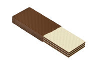 Half covered wafer with chocolate