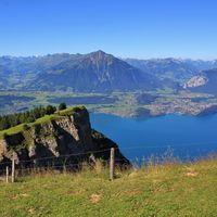 Stunning view from Mount Niederhorn. Azure blue Lake Thun and Mount Niesen Bernese Oberland, Switzerland.