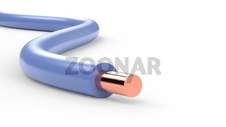 electrical cable wires with blue insulation isolated 3d illustration
