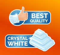 Washing clothes stickers set, clean laundry, thumbs up label with sign best quality, stack of white towels with the inscription crystal white, washing icons isolated, vector illustration.