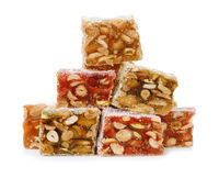 Stack of turkish delight sweets with nuts