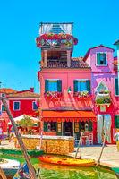 Colorful small restaurant in Burano