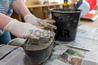 Schale aus Betonmasse selber machen - Nahaufnahme