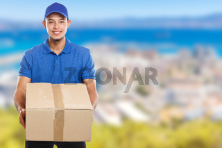 Parcel delivery service box package order delivering job young latin man copyspace copy space
