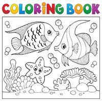 Coloring book sea life theme 6