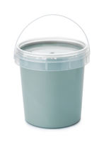Plastic bucket full of cosmetic clay