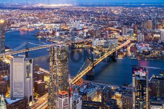 Aerial Brooklyn and Manhattan bridge New York