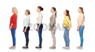 group of happy women standing in line