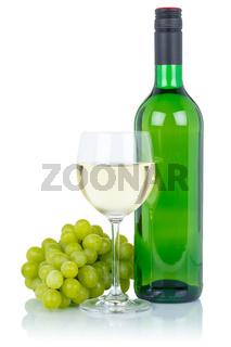 Wein Weinflasche Weinglas Flasche grün Glas Weißwein Weisswein Weintrauben Alkohol Getränk freigestellt Freisteller