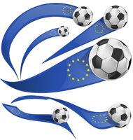 european flag element with soccer ball