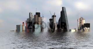 manipulated conceptual image of the city of london area flooded due to global warming and rising sea levels