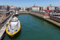 Harbor Dutch city Vlissingen with pilot boats ready for departure