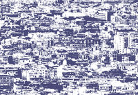 a blue and white duotone processed photograph of a panoramic aerial urban landscape of showing residential and business districts with hundreds of buildings