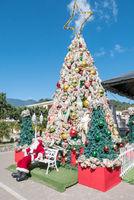christmas tree with Santa Claus in Boquete village Panama
