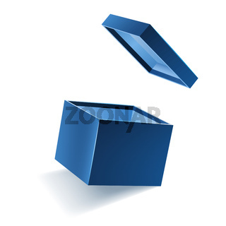 Blue opened 3d realistic gift box with flying off cover and place for your text, realistic box vector illustration.