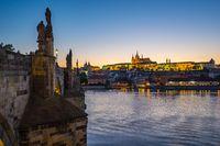 Sunset view of Prague skyline in Czech Republic