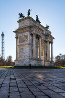 Arco della Pace (Porta Sempione) Sunrise in Milan Italy Traveling Sightseeing Destination Winter 2016 Blue Sky Outdoors Beautiful Monument Architecture