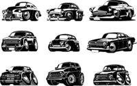 Vector Cartoon retro cars collection