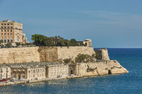 View of a coast and downtown of Valletta in Malta