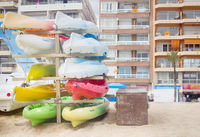Canoes are stacked for storage for the winter