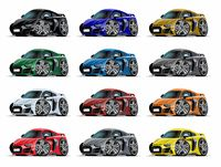 Cartoon sport car set isolated on white