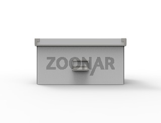 3d rendering of a storage box isolated in white background