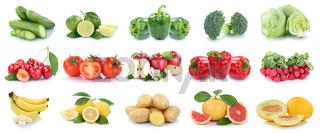 Obst und Gemüse Früchte Apfel Tomaten Zitronen Salat Farben Collage Freisteller freigestellt isoliert
