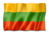 Lithuanian flag isolated on white