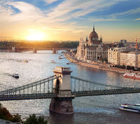 Bright sunset in Budapest