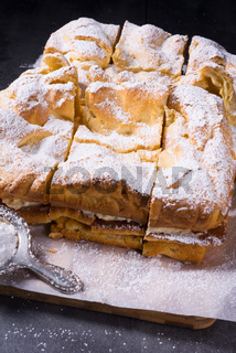Karpatka is a traditional Polish cream pie filled with russel cream or vanilla milk pudding cream.