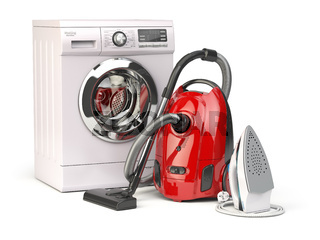 Home appliances. Group of vacuum cleaner,  iron and washing machine isolated on white background. 3d