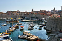 View at sea bay and old town of Dubrovnik in Croatia