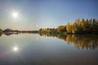 Autumn leaves reflection on a lake with sunstars in Burgenland