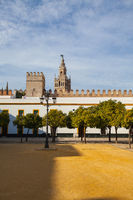 Seville cathedral Giralda tower from Alcazar of Sevilla Andalusia Spain.