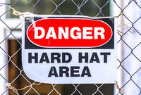 Danger hard hat area in construction zone