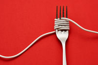 Fork wrapped with cable