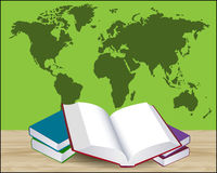 Open book illustration with green world map