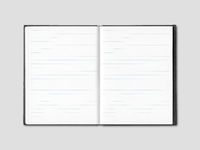 Blank open lined notebook isolated on grey