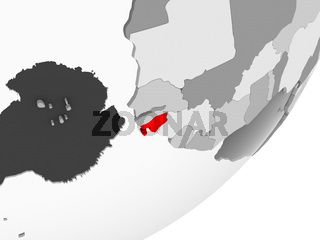 Guinea-Bissau in red on grey map