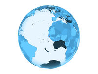Guinea-Bissau on blue globe isolated