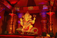 Guruji Talim Ganapati idol with its ride Mushak or mouse during Ganapati festival, Pune