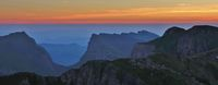 Sunrise view from Mount Niederhorn. Mountain ranges in the Bernese Oberland. Valley named Justistal.