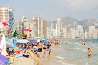 Lot of vacationers on the beach of Benidorm, Costa Blanca, Spain