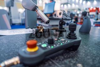 Quality control measurement probe. Metalworking CNC milling machine.