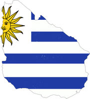 Uruguay country silhouette with flag on background, isolated on white
