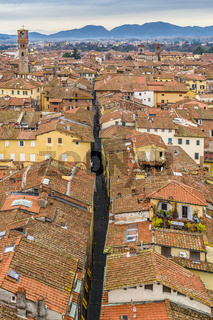 Aerial View Historic Center of Lucca, Italy